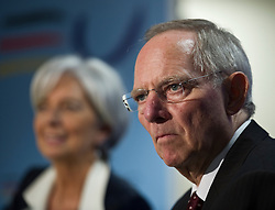 Wolfgang Schaeuble, Germany's finance minister, right, listens as  Christine Lagarde, France's finance minister, speaks, during a joint press conference following the first meeting of the Van Rompuy task force on economic governance, in Brussels, Belgium, on Friday, May 21, 2010. (Photo © Jock Fistick)