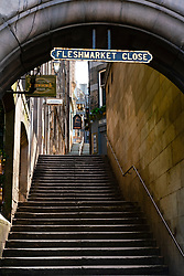 View of empty Fleshmarket Close in Edinburgh Old Town, Scotland, UK