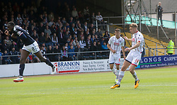 Ross County's Jamie Lindsay scoring their first goal. Dundee 1 v 2 Ross County, Scottish Premiership game played 5/8/2017 at Dundee's home ground Dens Park.