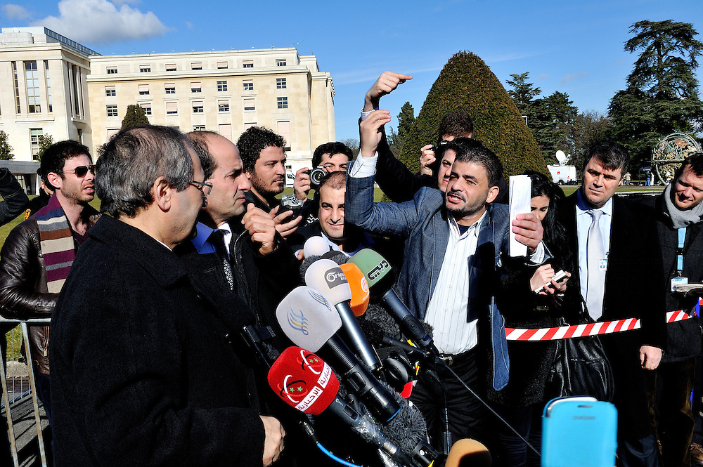 Syrian government Deputy Minister of Foreign Affairs Faisal Mekdad meets the press on the second day of the second round of the Geneva 2 Syria peace talks, at the UN Palais des Nations.