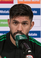 May 25, 2018 - Los Angeles, California, U.S - Oribe Peralta of Mexico's World Cup squad responds to questions from journalists during Mexico Media Day on Friday May 25, 2018 in Beverly Hills, California ahead a pre-World Cup soccer friendly against Wales in Pasadena on May 28. (Credit Image: © Prensa Internacional via ZUMA Wire)
