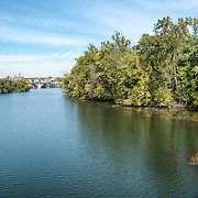 At right is Theodore Roosevelt Island, in the center, the Potomac, and in the distance Georgetown in Washington DC.