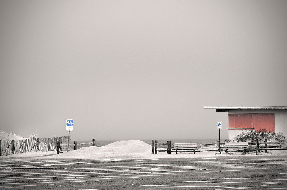 Empty parking lot at Race Point beach in winter.  Provincetown, Massachusetts.