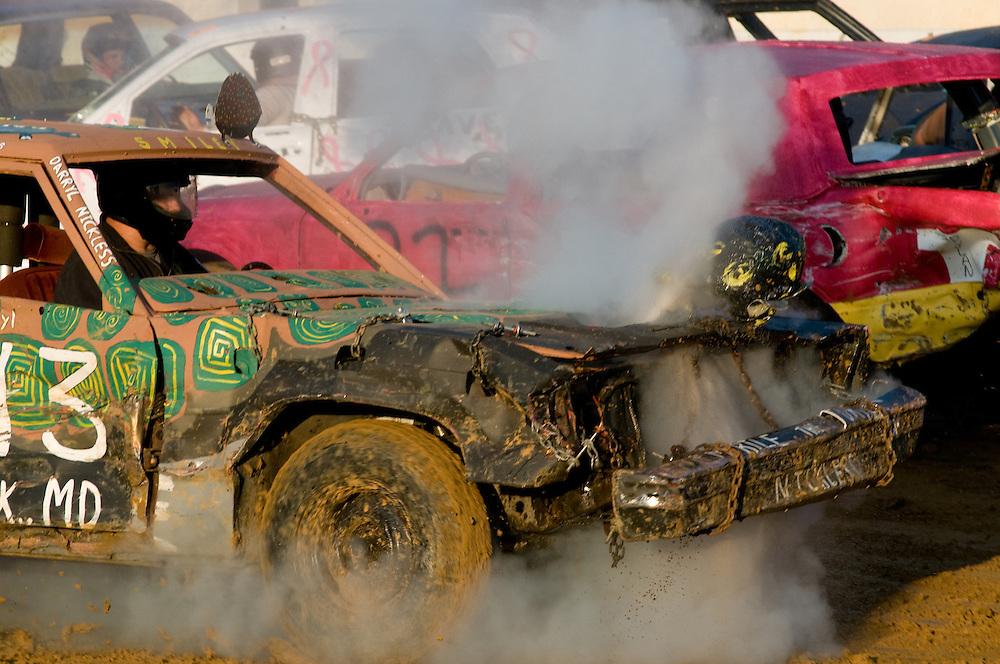Vehicles in a demolition derby