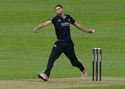David Payne of Gloucestershire bowls - Photo mandatory by-line: Dougie Allward/JMP - Mobile: 07966 386802 - 15/05/2015 - SPORT - Cricket - Bristol - Bristol County Ground - Gloucestershire County Cricket v Middlesex County Cricket - NatWest T20 Blast