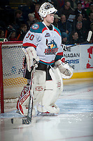 KELOWNA, CANADA -FEBRUARY 8: Jordon Cooke #30 of the Kelowna Rockets stands in net against the Victoria Royals on February 8, 2014 at Prospera Place in Kelowna, British Columbia, Canada.   (Photo by Marissa Baecker/Getty Images)  *** Local Caption *** Jordon Cooke;