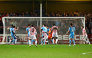 Danny Haynes celebrates scoring the second goal during the Sky Bet League 2 match between Cheltenham Town and Cambridge United at Whaddon Road, Cheltenham, England on 14 April 2015. Photo by Alan Franklin.