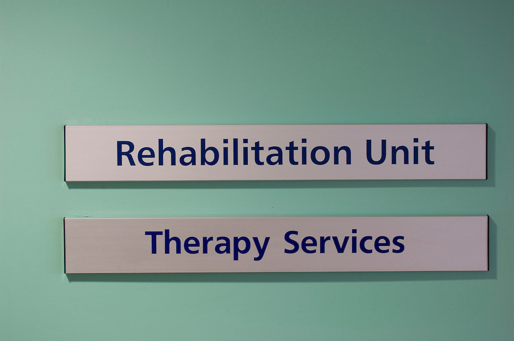 Signs for patients in the Samuel Johnson Hospital, Lichfield, Staffordshire. England, UK.