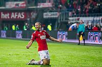 ALKMAAR - 20-02-2016, AZ - FC Groningen, AFAS Stadion, 4-1, AZ speler Ron Vlaar heeft de 2-0 gescoord, juichen.
