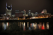 General view of the downtown skyline at night before the Tennessee Titans week 14 regular season NFL football game against the Jacksonville Jaguars on Thursday, Dec. 6, 2018 in Nashville, Tenn. The Titans won the game 30-9. (©Paul Anthony Spinelli)