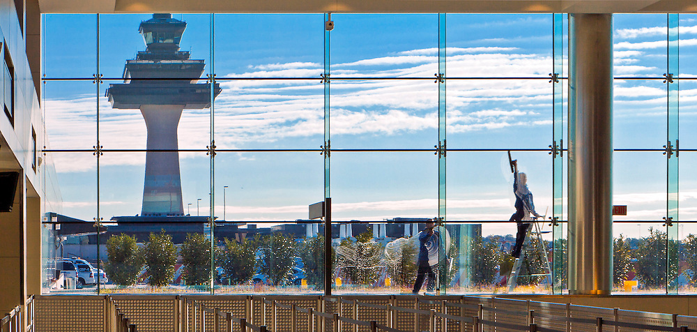 Window washer at Washington Dulles International Airport.  <br />