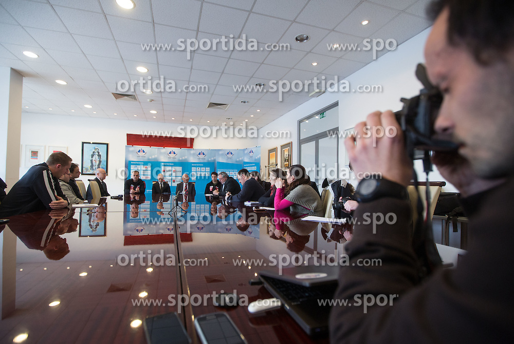 at press conference of Olympic committee and Hokejska zveza Slovenije prior to the Qualification for the Olympic games Sochi 2014, on February 1, 2013 in Ljubljana, Slovenia. (Photo By Matic Klansek Velej / Sportida.com)