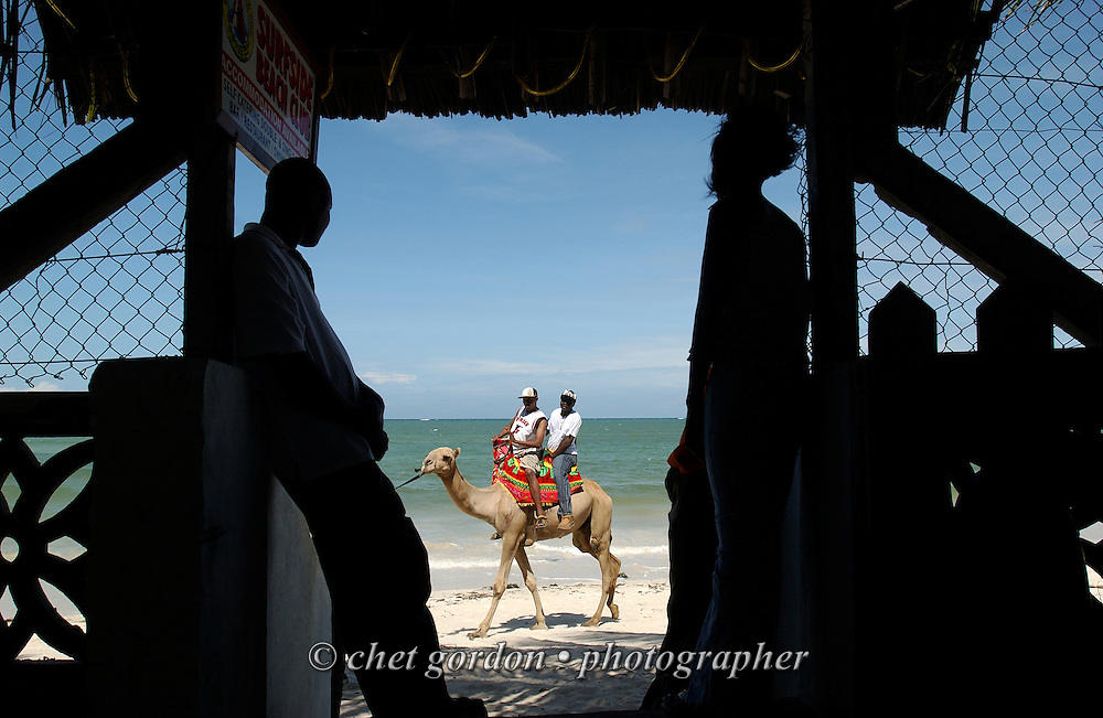Camel ride at Bamburi Beach in Mombasa, Kenya on Thursday, May 11, 2006.