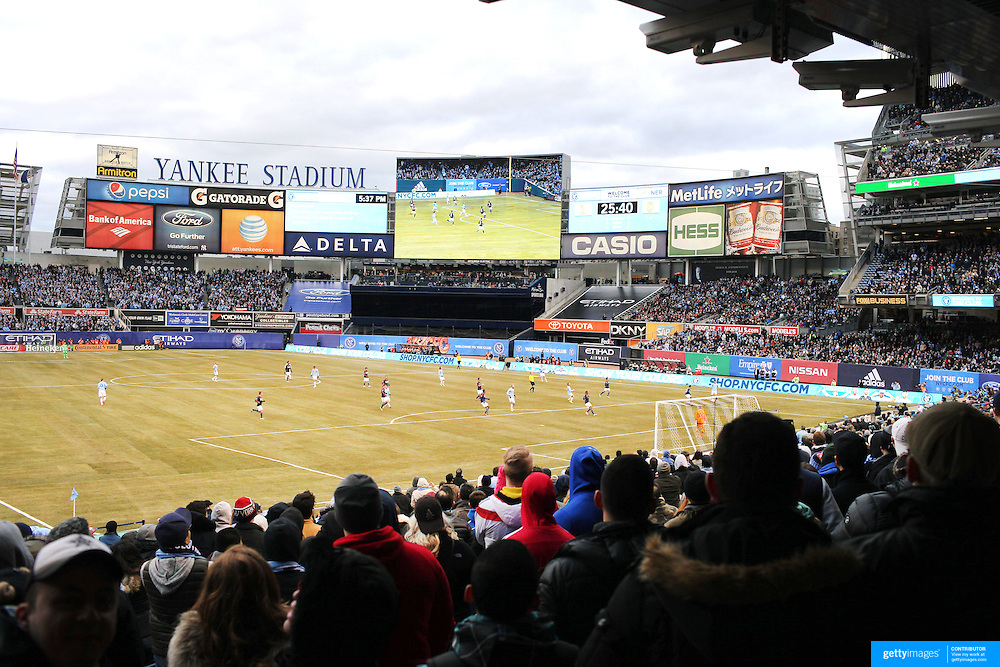 A general view from the stands of New York City FC vs New England Revolution, inaugural MSL football match at Yankee Stadium, The Bronx, New York,  USA. 15th March 2015. Photo Tim Clayton