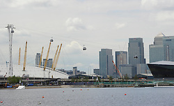 The Emirates Air Line cable car over the the River Thames during testing on June 18, 2012 in London, England. The new cable car which will carry passengers over the river from the O2 Arena at Greenwich to The ExCel Centre will take 5 minutes and cost £50 million to construct. It opens to the public on June 28, 2012. Photo Ki Price/i-Images