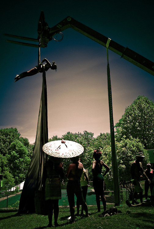 Intro to Aerial Silk Trapeze, down by the pool.