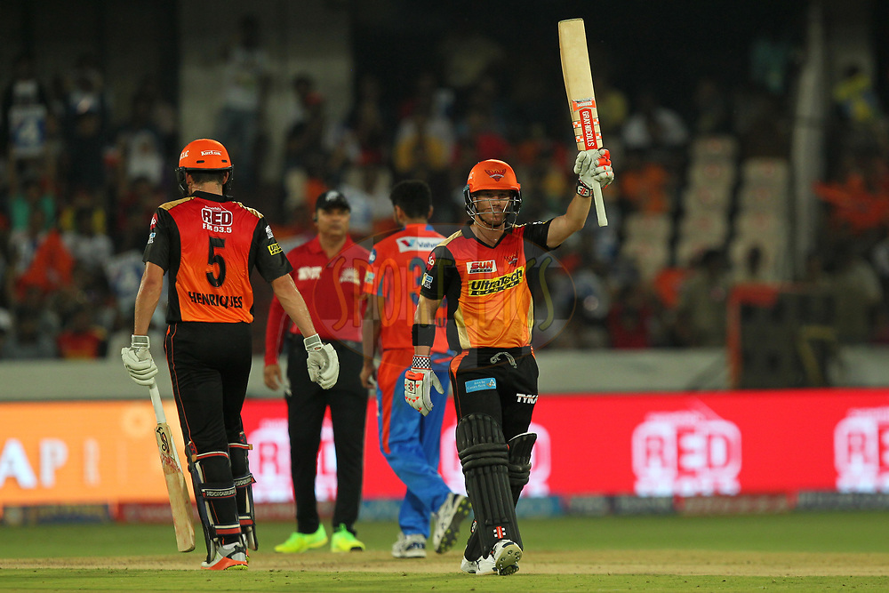 David Warner captain of Sunrisers Hyderabad celebrates fifty during match 6 of the Vivo 2017 Indian Premier League between the Sunrisers Hyderabad and the Gujarat Lions held at the Rajiv Gandhi International Cricket Stadium in Hyderabad, India on the 9th April 2017Photo by Prashant Bhoot - IPL - Sportzpics