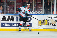 KELOWNA, CANADA - MARCH 13: Nolan Foote #29 of the Kelowna Rockets passes the puck against the Spokane Chiefs  on March 13, 2019 at Prospera Place in Kelowna, British Columbia, Canada.  (Photo by Marissa Baecker/Shoot the Breeze)