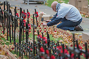 Hammering the wooden crosses in - Volunteers from the Royal British Legion set out the Field of Remembrance outside Westminster Abbey. The field comprises thousands of poppies on crosses to remember individuals and units. It will be completed in time for a Royal visit on Thursday . London 07 Nov 2017.