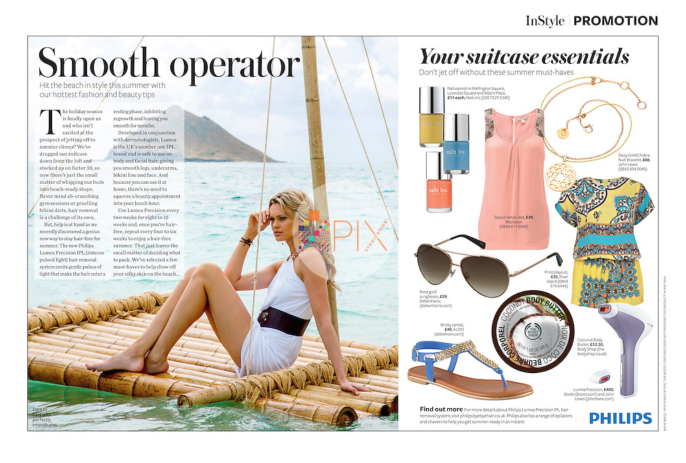 Gorgeous advertorial on beach style and summer beauty tips in the August issue of IN STYLE magazine, UK.<br /> <br /> Main image from our shoot 'swept away', available for worldwide use with approval:  http://www.apixsyndication.com/gallery/swept-away/G00006OwtzQ08CJM/C0000TBXWb2sFQpo