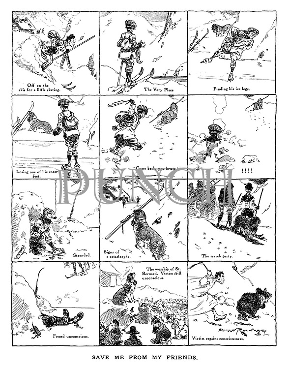 Save me from my friends. (an Edwardian skiing holiday featuring a St. Bernard rescue dog)