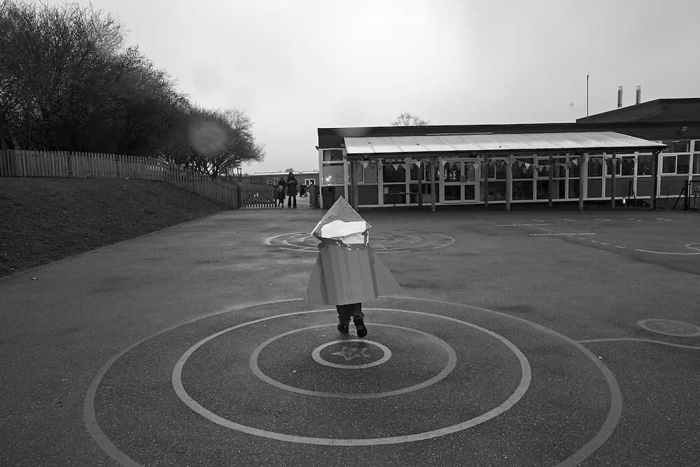 Ben wears his homework ( a cardboard space rocket) in to school in Berkhamsted, England Monday, March 16, 2015 (Elizabeth Dalziel) #thesecretlifeofmothers #bringinguptheboys #dailylife