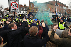 12 March 2017 - The FA Cup - (Sixth Round) - Tottenham Hotspur v Millwall - A smoke bomb goes off as opposing fans goad each other before the match - Photo:  Offside.