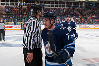 PENTICTON, CANADA - SEPTEMBER 8: Antoine Cnete-belzile #72 of Winnipeg Jets skates to the bench to celebrate a goal against the Vancouver Canucks on September 8, 2017 at the South Okanagan Event Centre in Penticton, British Columbia, Canada.  (Photo by Marissa Baecker/Shoot the Breeze)  *** Local Caption ***