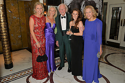 Left to right, EMILY LAMB, MANDY SHEPHERD, DAVID SHEPHERD, PEANUT LAMB and AVRIL SHEPHERD at the David Shepherd Wildlife Foundation 30th anniversary Wildlife Ball at The Dorchester, Park Lane, London on 10th October 2014.