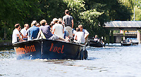 AMSTERDAM - Boten varen in Amsterdam.  ANP COPYRIGHT KOEN SUYK