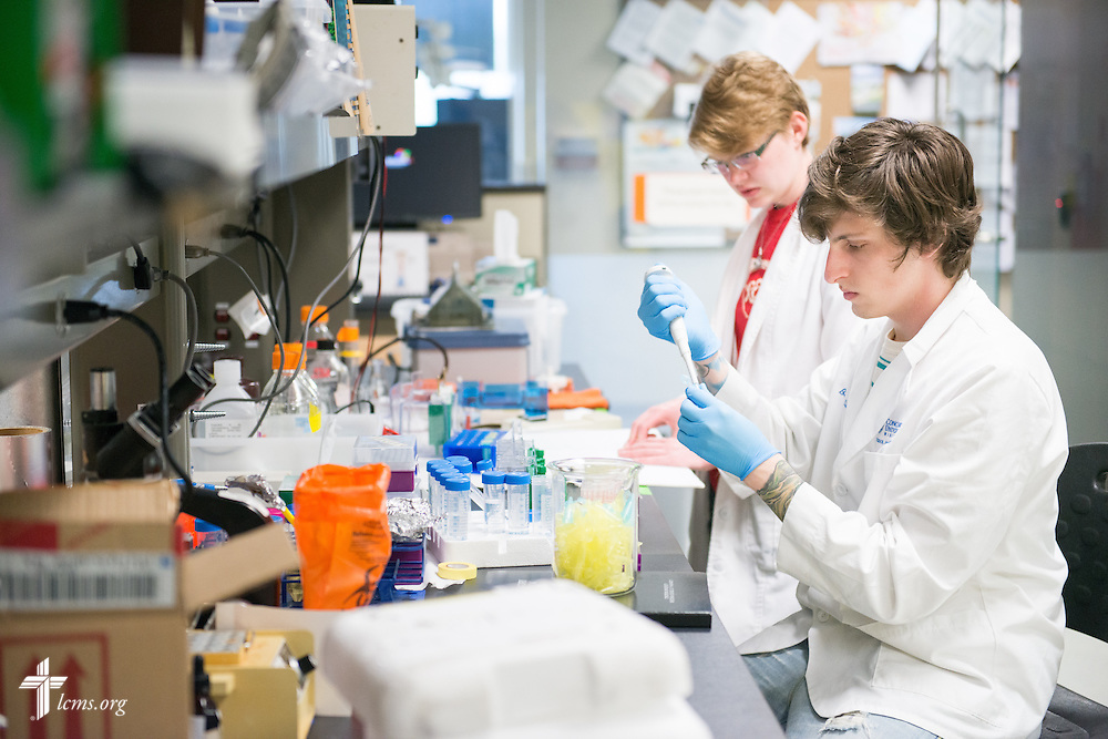 Student Benjamin Kluge works in the School of Pharmacy with Rachel Lange at Concordia University Wisconsin in Mequon, Wis., on Tuesday, May 27, 2014. LCMS Communications/Erik M. Lunsford