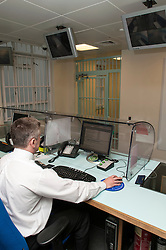 Desk sergeant on duty in Bishopsgate Police Station, City of London