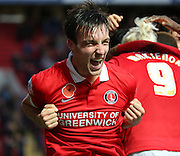 Charlton Athletic defender Morgan Fox celebrating after Charlton scored another goal to take the game to 3-0 during the Sky Bet Championship match between Charlton Athletic and Sheffield Wednesday at The Valley, London, England on 7 November 2015. Photo by Matthew Redman.