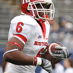 Oct 31, 2009; East Hartford, CT, USA; Rutgers wide receiver Mohamed Sanu (6) carries a ball while warming up for for Big East NCAA football action between Rutgers and Connecticut at Rentschler Field.