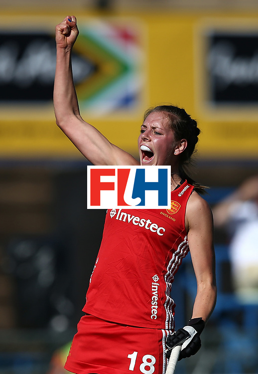 JOHANNESBURG, SOUTH AFRICA - JULY 16:  Giselle Ansley of England celebrates the second goal during day 5 of the FIH Hockey World League Women's Semi Finals Pool A match between England and Ireland at Wits University on July 16, 2017 in Johannesburg, South Africa.  (Photo by Jan Kruger/Getty Images for FIH)