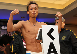 July 8, 2011; Atlantic City, NJ; USA; Akifumi Shimoda weighs in for his upcoming bout against Rico Ramos.