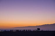 Sunset at Santa Monica beach in Los Angeles, California.