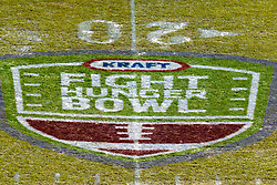 Dec 31, 2011; San Francisco CA, USA;  General view of the Kraft Fight Hunger Bowl logo on the field before the game between the Illinois Fighting Illini and the UCLA Bruins at AT&T Park.  Mandatory Credit: Jason O. Watson-US PRESSWIRE