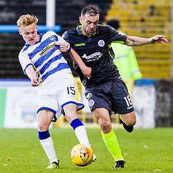 James McFadden (16) of Queen of the South challenges Scott Tiffoney (15) of Greenock Morton during the Ladbrokes Scottish Championship game between Greenock Morton and Queen of the South at Cappielow Park on 4th November 2017 in Greenock, Scotland.   (c) BERNIE CLARK | SportPix.org.uk