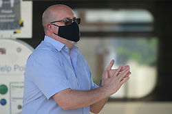 ©Licensed to London News Pictures 15/06/2020<br /> Petts Wood, UK. A commuter wearing a protective mask at Petts Wood train station Petts Wood, South East London. It is now compulsory to wear a face covering or masks on public transport in the UK due to the Coronavirus outbreak. Photo credit: Grant Falvey/LNP