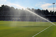 Kingsmeadow/ Cherry Red Records Stadium pitch getting watered during the EFL Sky Bet League 1 match between AFC Wimbledon and Wycombe Wanderers at the Cherry Red Records Stadium, Kingston, England on 31 August 2019.