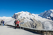 Monte Rosa massif / Dufourspitze(4634 m / 15,203 ft, second-highest mountain of the Alps and highest of Switzerland), in the Pennine/Valais Alps, Europe. In Zermatt, the Gornergrat rack railway (GGB) takes you to a spectacular ridge (at 3135 m or 10,285 ft) between Gornergletscher and Findelgletscher, with views of more than twenty 4000-meter-high peaks. Gornergrat train, opened in 1898, climbs almost 1500 m or 4900 ft via Riffelalp and Riffelberg.