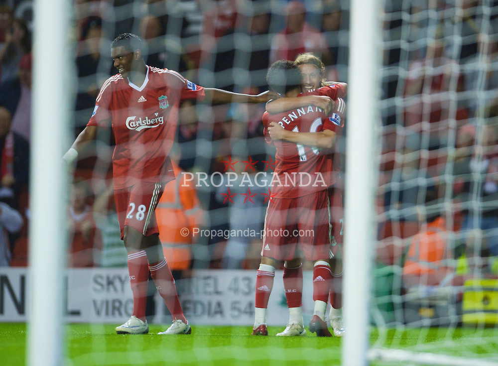 LIVERPOOL, ENGLAND - Tuesday, September 23, 2008: Liverpool's Lucas Leiva celebrates scoring with team-mate Jermaine Pennant against Crewe Alexandra to make the scores 2-1 during the League Cup 3rd round match at Anfield. (Photo by David Rawcliffe/Propaganda)