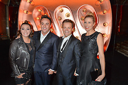 Left to right, ANT McPARTLIN, his wife LISA and DEC DONNELLY and his wife ALI at the Warner Music Group & Ciroc Vodka Brit Awards After Party held at The Freemason's Hall, 60 Great Queen St, London on 24th February 2016.