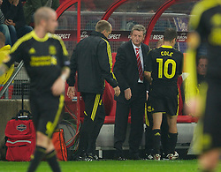 UTRECHT, THE NETHERLANDS - Thursday, September 30, 2010: Liverpool's manager Roy Hodgson looks dejected as he substitutes the ineffective Joe Cole during the UEFA Europa League Group K match against FC Utrecht at the Stadion Galgenwaard. (Photo by David Rawcliffe/Propaganda)