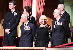 (left to right) Timothy Laurence, the Princess Royal, the Prince of Wales, the Duchess of Cornwall and the Duke of York at the annual Royal Festival of Remembrance at the Royal Albert Hall in London.