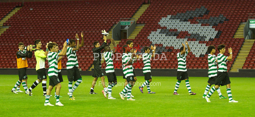 LIVERPOOL, ENGLAND - Wednesday, August 17, 2011: Sporting Clube de Portugal's players are applauded by the Kop after their 3-0 victory over Liverpool during the first NextGen Series Group 2 match at Anfield. (Pic by David Rawcliffe/Propaganda)