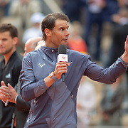 PARIS, FRANCE June 09.  Rafael Nadal of Spain makes a speech during presentations after his victory against Dominic Thiem of Austria during the Men's Singles Final on Court Philippe-Chatrier at the 2019 French Open Tennis Tournament at Roland Garros on June 9th 2019 in Paris, France. (Photo by Tim Clayton/Corbis via Getty Images)