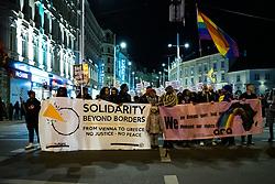 """06.03.2020, Innenstadt, Wien, AUT, Demonstration Reporter ohne Grenzen (ROG), Bewegung """"Rosa Antifa Wien"""", Asyl in Not """"Transnationale Solidarität gegen Rassismus und Krieg"""", im Bild Demonstranten am Weg zum Ring// demonstration Reporters Without Borders, """"Rosa Antifa Wien"""" movement, asylum in need """"Transnational Solidarity Against Racism and War"""" at the inner city in Vienna, Austria on 2020/03/06. EXPA Pictures © 2020, PhotoCredit: EXPA/ Florian Schroetter"""
