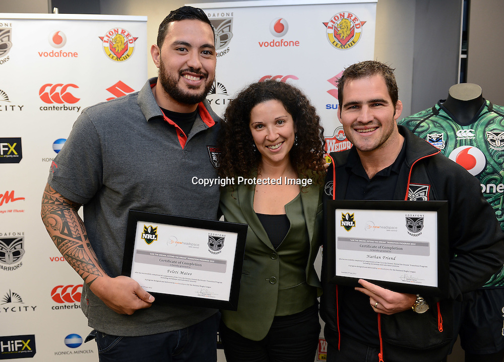 Feleti Mateo, Jhanna Culver and Nathan Friend, Warriors Extend the Dream graduation ceremony and scholarship presentation to Junior Warriors players, Vodafone Warriors, Mt Smart Stadium, Auckland. 17 July 2012. Photo: Andrew Cornaga/photosport.co.nz